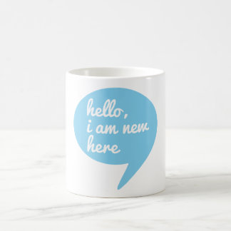 hello, I am new here, blue speech bubble Mug