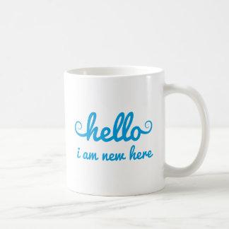 hello, I am new here, text design for baby shower, Basic White Mug
