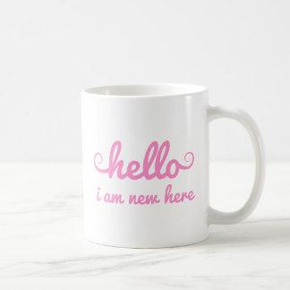 hello, I am new here, text design for baby shower Basic White Mug