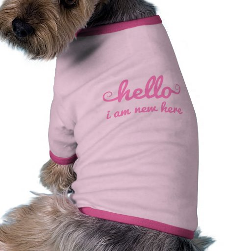 hello, I am new here, text design for baby shower Pet Clothing