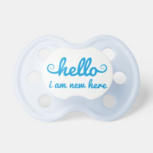 hello, I am new here, text design for baby shower, Pacifiers