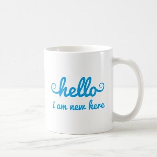 hello, I am new here, text design for baby shower, Mug