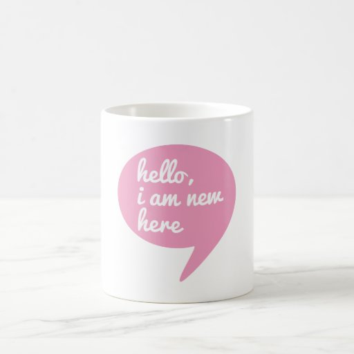 hello, I am new here, text design for baby shower Coffee Mugs