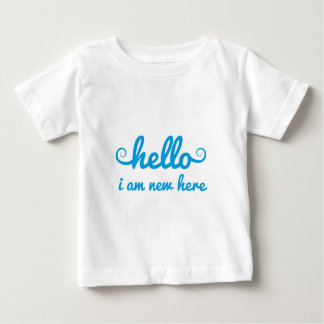 hello, I am new here, text design for baby shower, T Shirt
