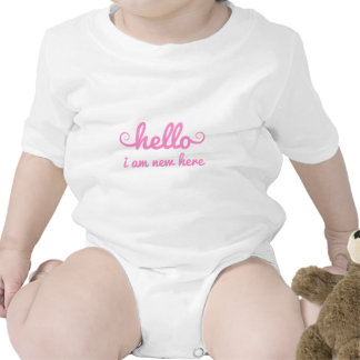 hello, I am new here, text design for baby shower Baby Bodysuit