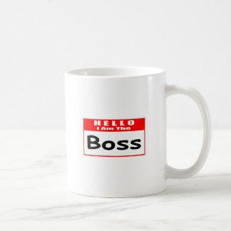 Hello I Am The Boss Nametag Coffee Mugs