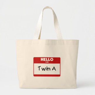 Hello I Am Twin A Large Tote Bag