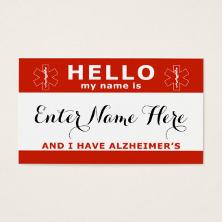 HELLO i have alzheimers emergency contact card
