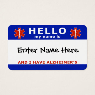 HELLO i have alzheimers emergency info