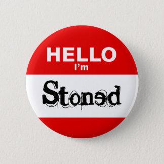 Hello I'm Stoned Funny Nametag 6 Cm Round Badge