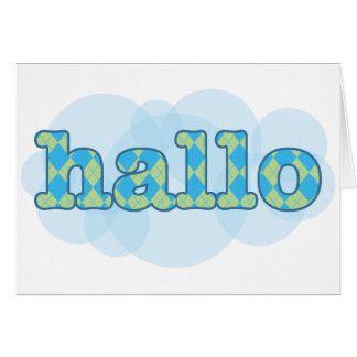 Hello in afrikaans hallo with argyle pattern greeting card