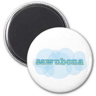 Hello in zulu wawubona argyle pattern 6 cm round magnet