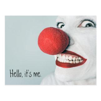 Hello, It's Me Funny Clown Face Postcard