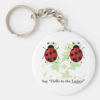 Hello Ladies Basic Round Button Key Ring