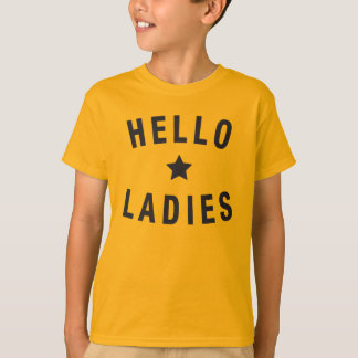 Hello Ladies, Youth Design in Black T-Shirt