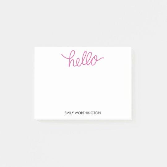Hello Lettering Custom Post-it® Notes (Fuchsia)
