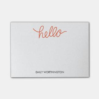 Hello Lettering Custom Post-it® Notes (Orange)