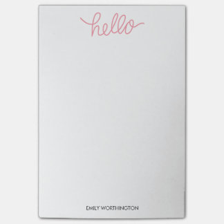 Hello Lettering Custom Post-it® Notes (Pink)