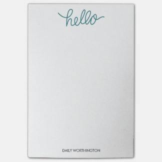 Hello Lettering Custom Post-it® Notes (Teal)