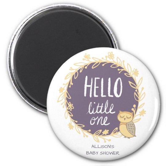 Hello Little One Owl Baby Shower Favour Magnet