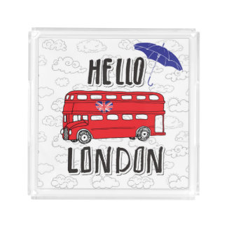 Hello London | Hand Lettered Sign With Umbrella Acrylic Tray