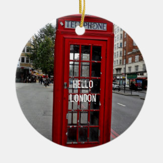 Hello London-Telephone booth Round Ceramic Decoration