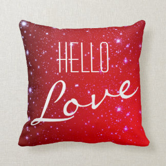 Hello Love Red Sparkle Accent Pillow
