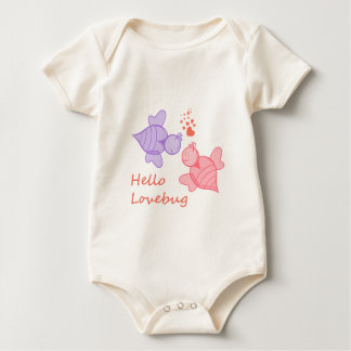 Hello Lovebug Cute Cartoon Valentine's Bugs Baby Bodysuit
