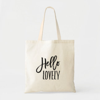 Hello Lovely   Brush Lettered Typography Tote Bag