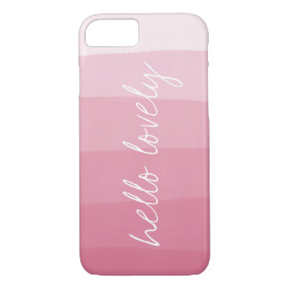 Hello Lovely Pink Watercolor Gradient Stripe iPhone 8/7 Case