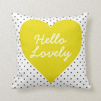 Hello Lovely Polka Dot Heart Pillow