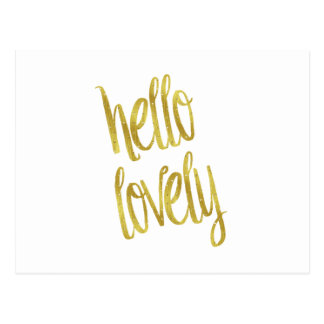 Hello Lovely Quote Faux Gold Foil Sparkle Design Postcard