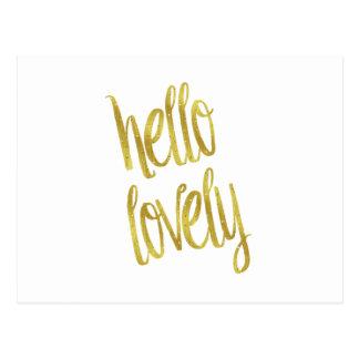 Hello Lovely Quote Faux Gold Foil Sparkle Design Postcard
