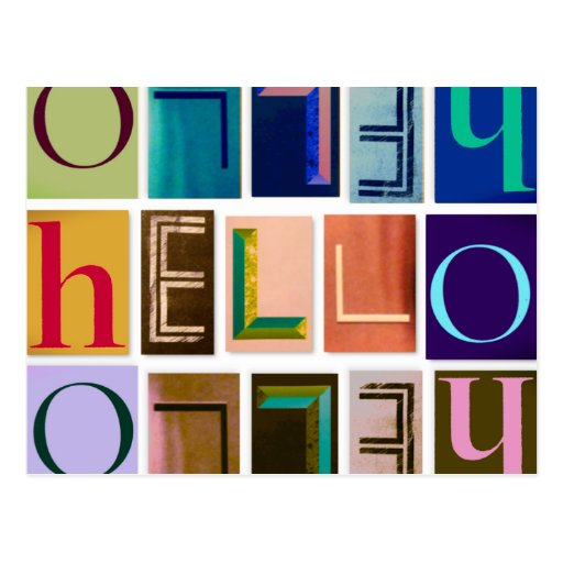 Hello Magazine Cutout Letters Typography Postcard