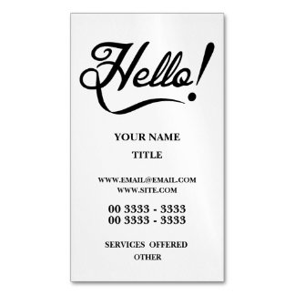 Hello Magnetic Business Card