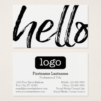 Hello - Modern and Whimsical -Logo Black and White Business Card