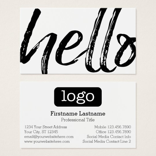 Hello - Modern and Whimsical -Logo Black and