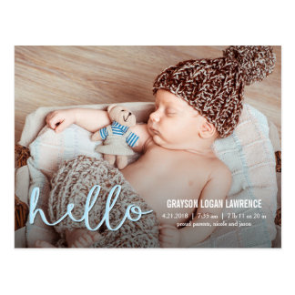 HELLO Modern Birth Announcement Postcard