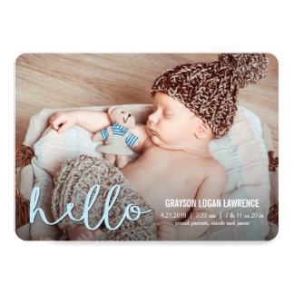HELLO Modern Birth Announcements BLUE