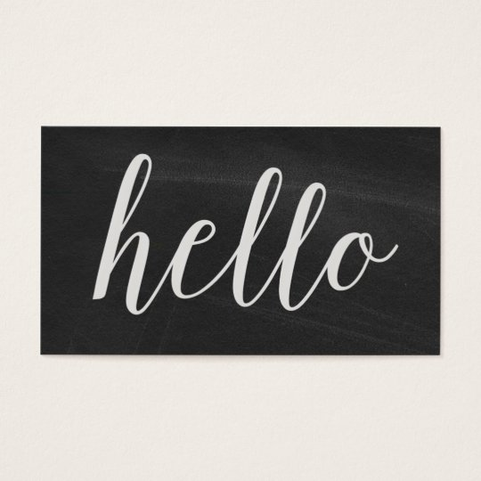 Hello Modern Chalkboard Business Cards