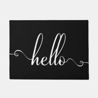 Hello Modern Typography White and Black Doormat