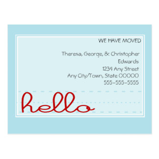 Hello Moving Announcement Post Card