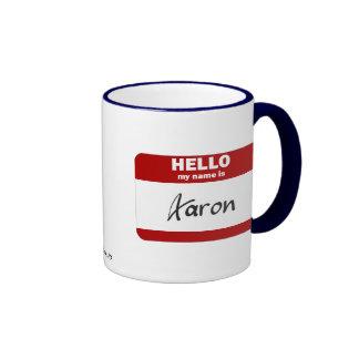 Hello My Name Is Aaron (Red) Coffee Mugs