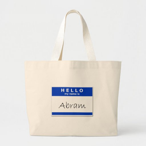 Hello My Name Is Abram Canvas Bags
