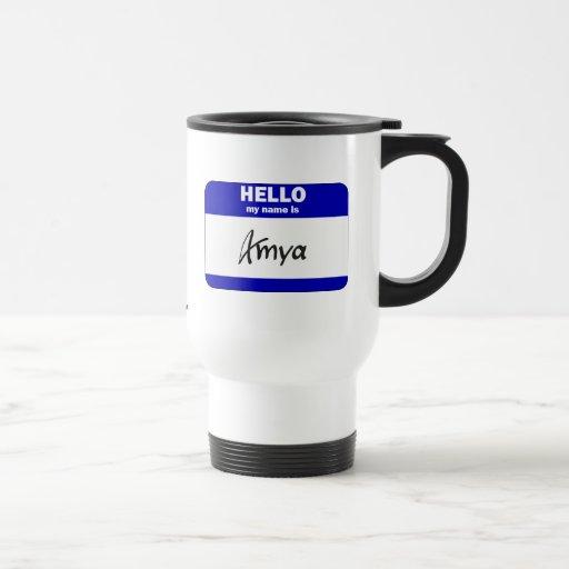 Hello My Name Is Amya (Blue) Mugs