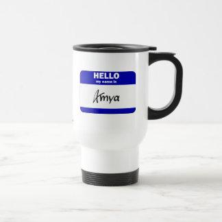 Hello My Name Is Amya (Blue) Stainless Steel Travel Mug