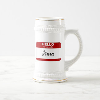 Hello My Name Is Anna (Red) Beer Stein