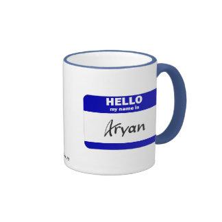 Hello My Name Is Aryan (Blue) Ringer Mug