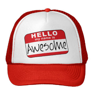 Hello My Name is Awesome Trucker Hats