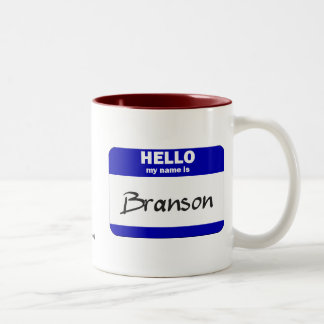 Hello My Name Is Branson (Blue) Two-Tone Coffee Mug